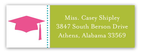 pink grad cap pattern address label