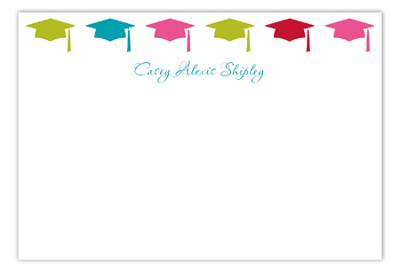 Pink Grad Cap Pattern Flat Note Card