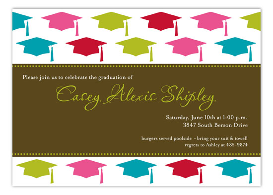 Pink Grad Cap Pattern Invitation