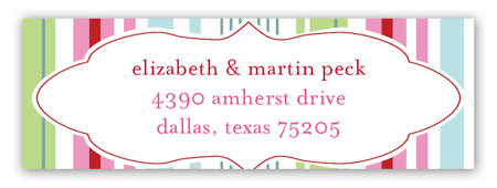 Pink Green Stripes Address Label