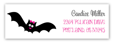 Pink Halloween Bats Address Label