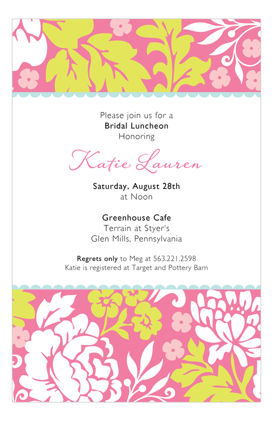 Pink Leaf Floral Invitation