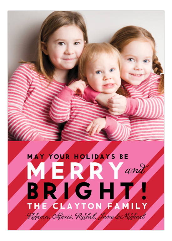 Pink Merry and Bright Photo Card
