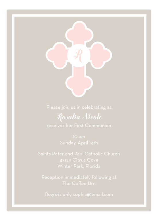 Pink Monogram Cross Invitation