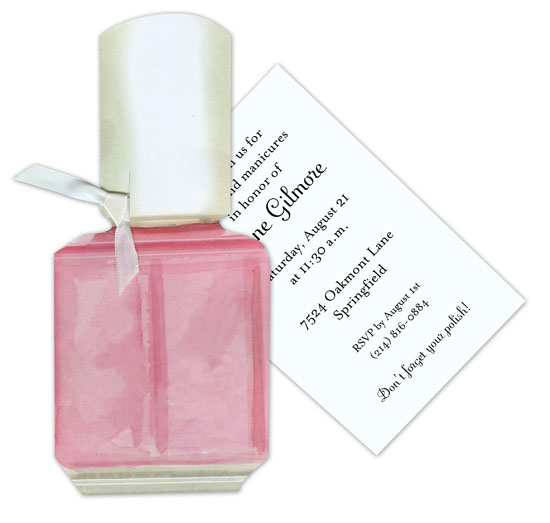 Pink Nail Polish Invitation