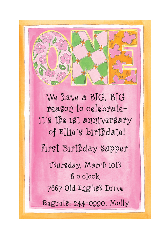 Pink One First Birthday Invitations