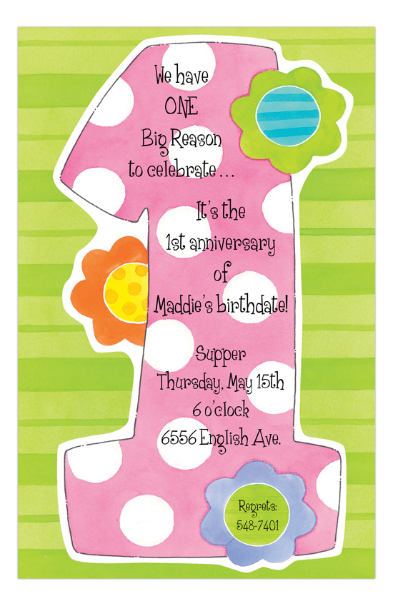 Big Pink One Polka Dots Girls Invitations