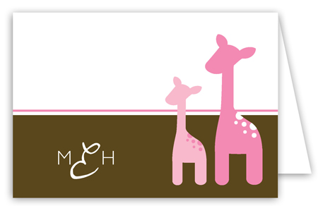 Pink Onlooking Giraffes Folded Note Card