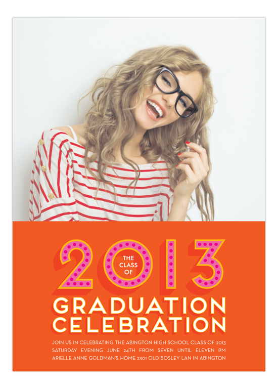 Pink + Orange 2013 Graduation Celebration Photo Card