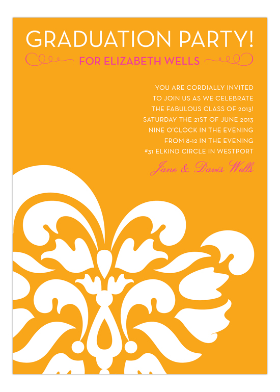 Pink + Orange Graduation Flourish Invitation