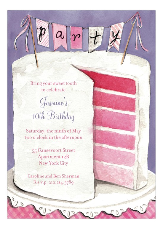 6 Layer Pink Birthday Party Cake Invitation