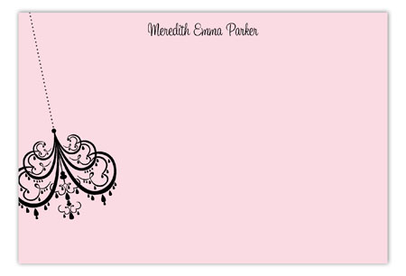 Pink Party Lights Flat Note Card