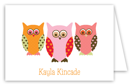 Pink Pattern Owls Folded Note Card