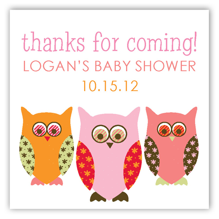 Pink Pattern Owls Square Sticker