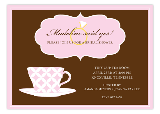 Pink Pattern Tea Cup Invitation