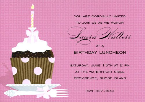 Pink Polka Dot Cupcake Invitation