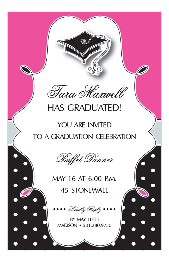 Pink Polka Dot Grad Cap Invitation