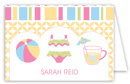 Pink Pool Trio Folded Note Card