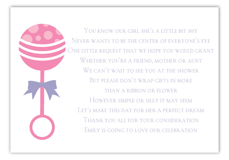 Pink Rattle Enclosure Card