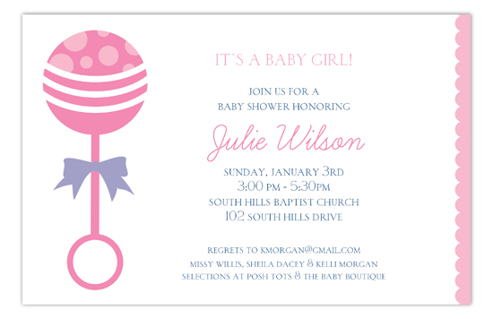 Its a Baby Girl Pink Rattle Invitation