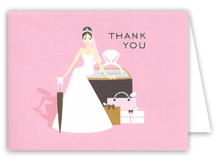 Pink Ring Bride Thank You Card