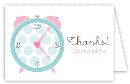 Pink Round the Clock Folded Note Card