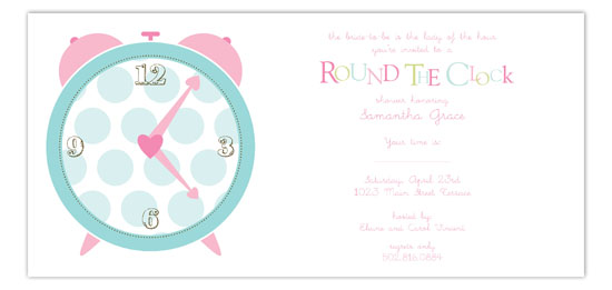 Pink Round the Clock Invitation