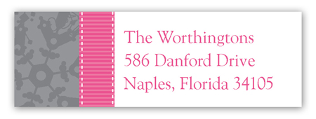 Pink Snowy Grosgrain Address Label