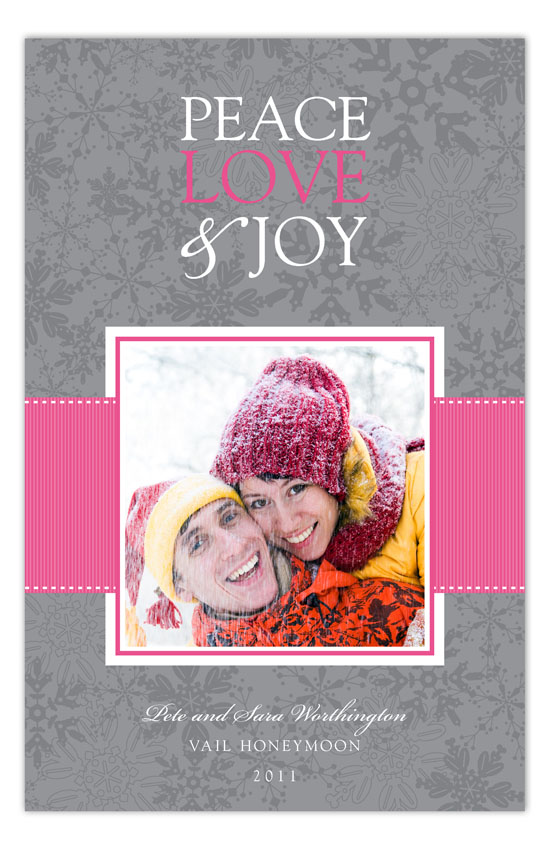 Pink Snowy Grosgrain Photo Card