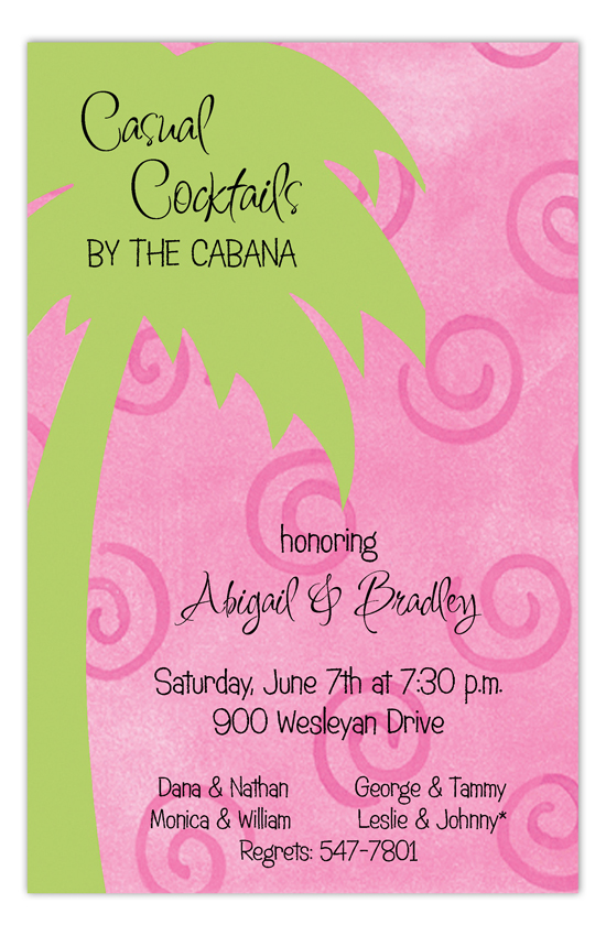 Pink Swirl Palm Invitation