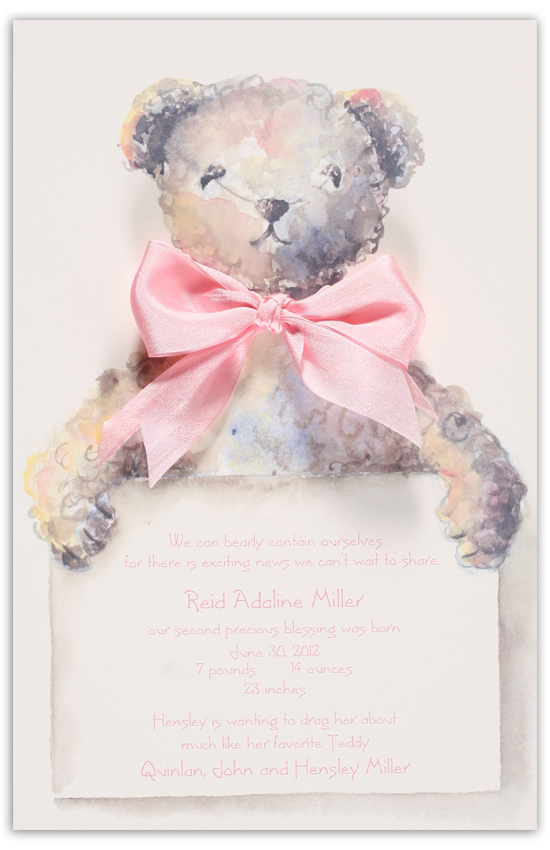 Pink Teddy Bear Invitation