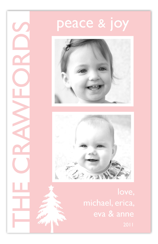 Pink Tree Silhouette Photo Card
