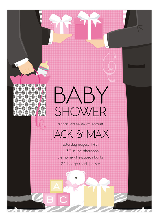 Pink two dads classic couple baby shower invitation girl baby pink two dads classic couple baby shower filmwisefo