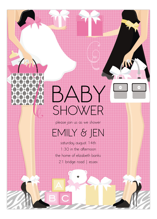 Pink Two Moms Classic Couple Baby Shower Invitation
