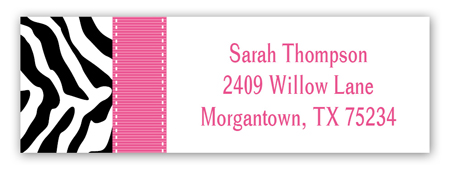 Pink Zebra Address Label