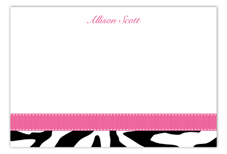 Pink Zebra Flat Note Card
