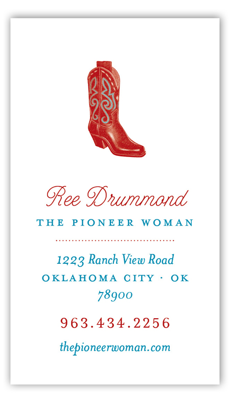 Pioneer Days Boot Calling Card