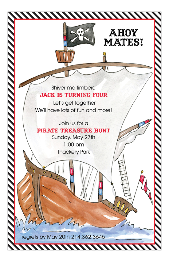Pirate Ship Kids Birthday Invitation