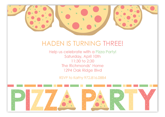 Haden Is Turning Three Pizza Party Invitations Polka Dot Invitations
