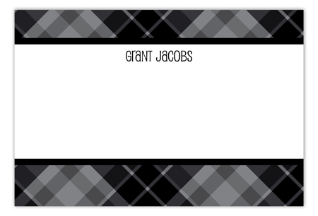 Plaid Grad Black Flat Note Card