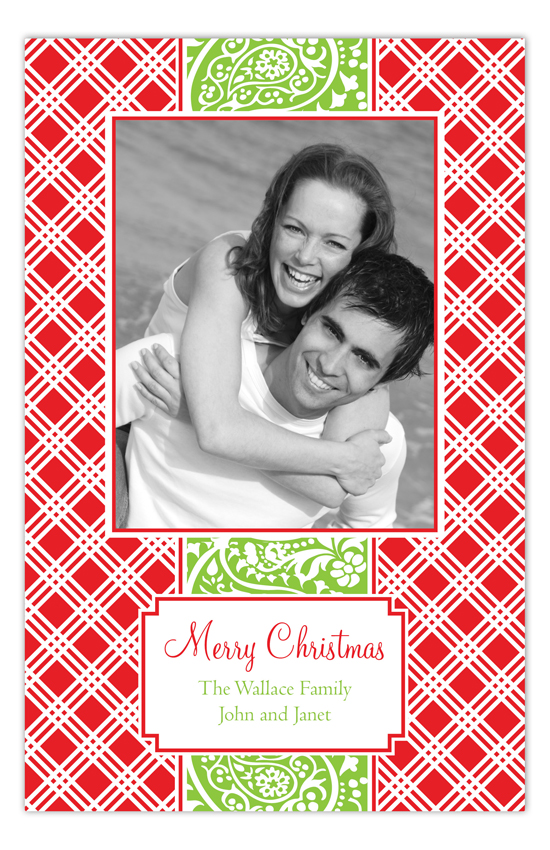 Red and Green Poinsettia Family Photo Card