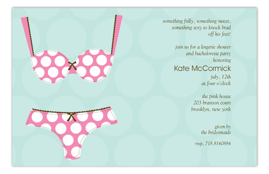 Polka Dot Undies Lingerie Shower Invitations
