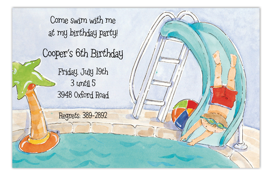 Pool Slide Boy Invitation