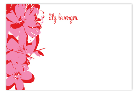 Pop Art Flowers Pink Flat Note Card