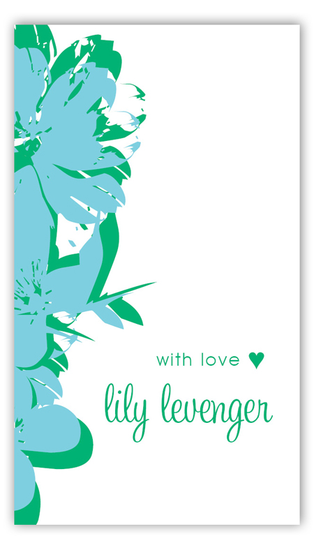 Pop Art Flowers Turquoise Calling Card