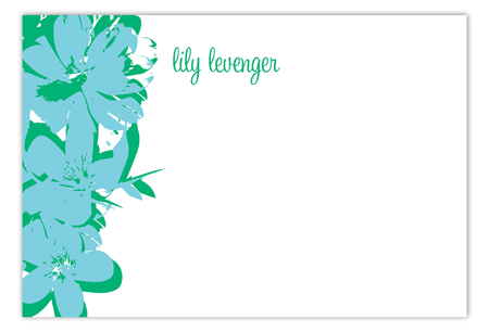 Pop Art Flowers Turquoise Flat Note Card