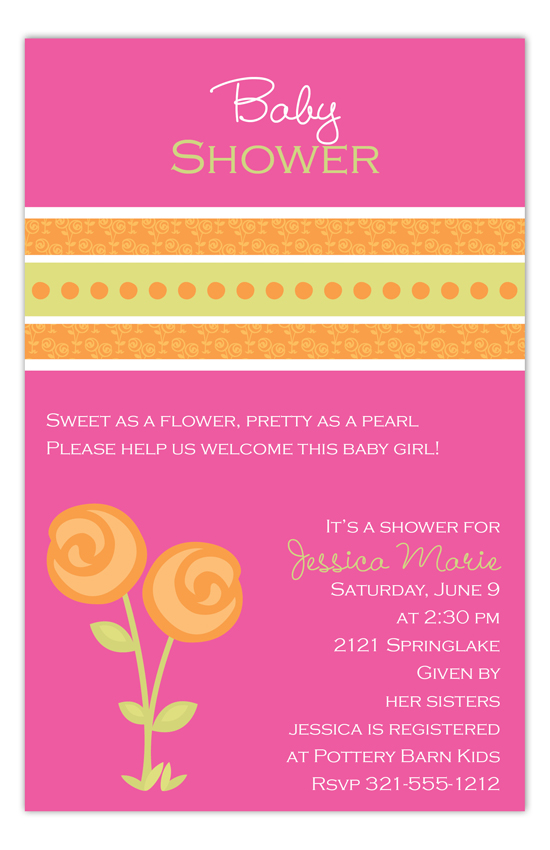 Posies on Pink Invitation