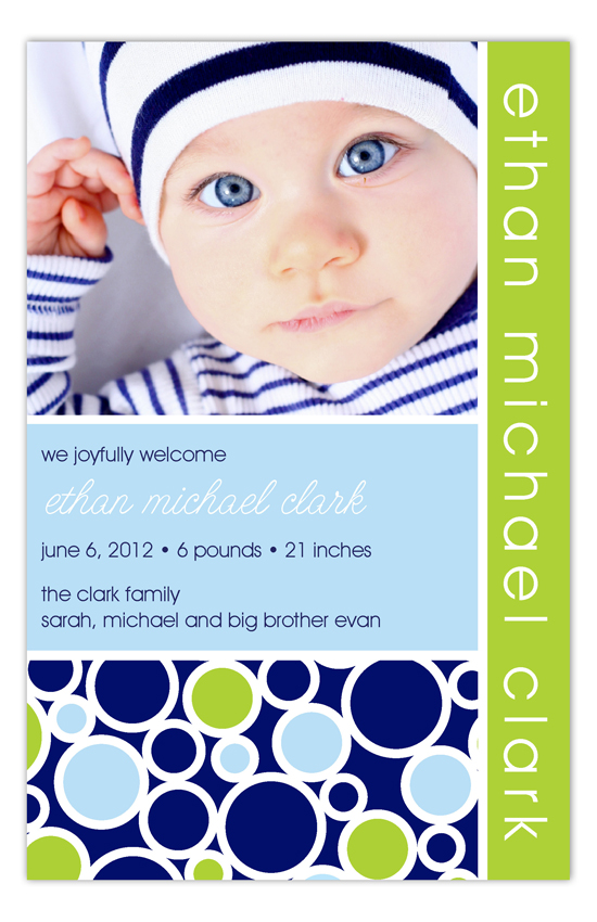Preppy Bubbles Blue Photo Card