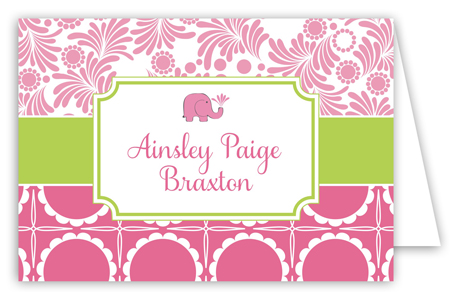 Preppy Elephant Folded Note Card