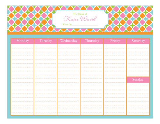 Polka Dot Design Preppy Weekly Calendar Pad